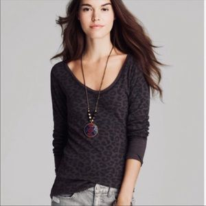Free People Desperate Leopard Print Thermal Top XS